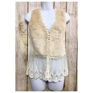 A'reve Anthropologie Vest Lace Faux Fur Boho